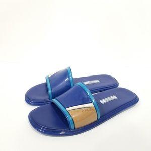 Prada Sz 7 Forma Flat Slide Colorblock Rubber Blue